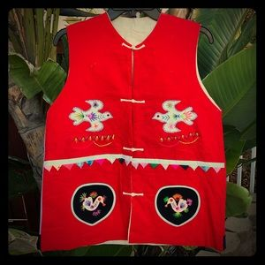 Vintage folk art red vest women's Large Size 14 16
